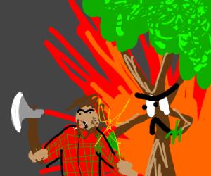 Tree retaliates against lumberjack