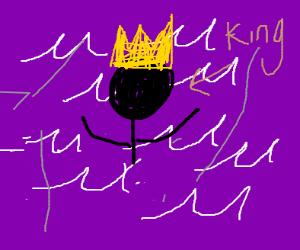 King drowning in a sea of purple soda