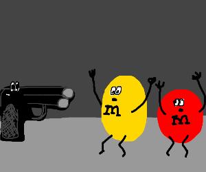 Gun shooting M&Ms