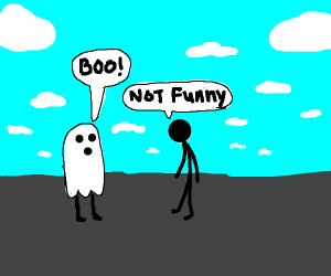 stick man not amused by ghost sheet costume