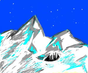 Mountain with cave