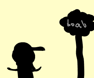 silhouette of a guy and a boab tree