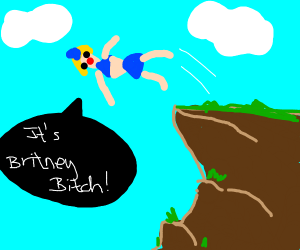 britney falls off a cliff