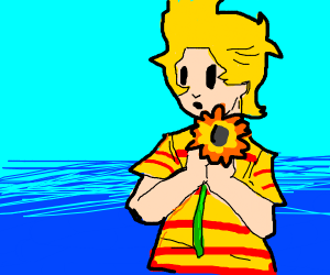 Lucas from Mother 3 with a Sunflower