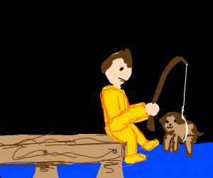 fishing with dog as bait
