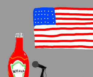 Ketchup bottle is president of the U.S.A