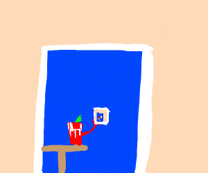 bloody mary in a blue room with a picture