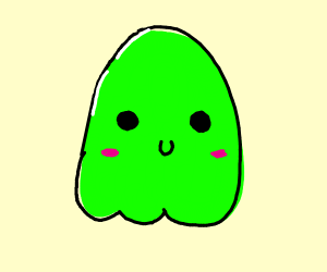 A green kawaii ghost