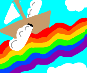 ship with wings riding on a rainbow