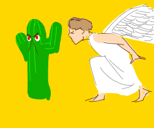 Angel sneaks up behind angry cactus
