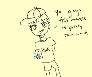 kid holding a pretty rad marble