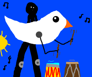 Bird man hits it on the drums