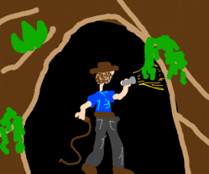 indiana jones enters a cave