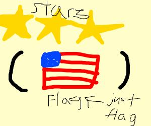 stars (a flag, maybe?)