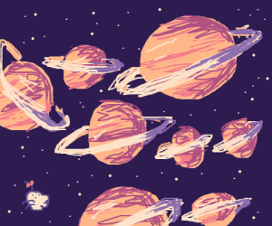 Eight Big Saturns And One Small Saturn