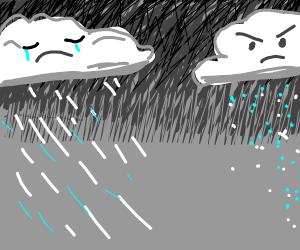 hail cloud is angry and rain cloud is sad