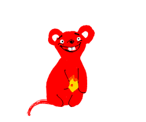 very smiley red mouse