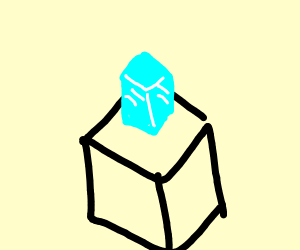 ice cube on top of a cube that is not ice