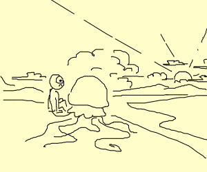 Jelly fish looks at sunset with shocked man