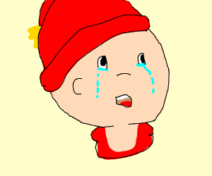 Spoiled Kid crys on TV (caillou)