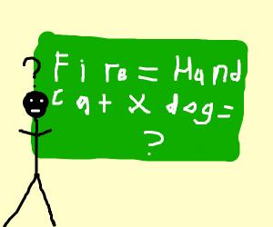 fire = hand, cat x dog = ?