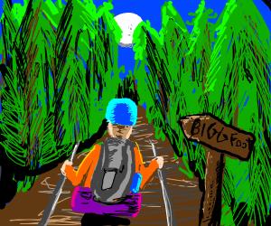 Camper heading towards Bigfoot in the woods