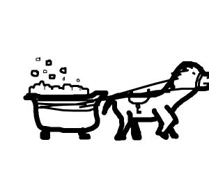 Horse pulling a bathtub