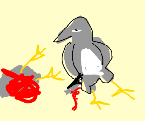 A pigeon murders another pigeon with a knife