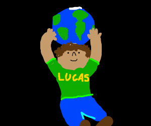 lucas with earth on his head