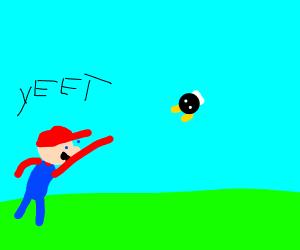 Mario yeeting Bobomb