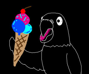 white bird with blue and pink icecream