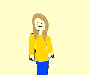 Blushing blonde in a yellow jacket