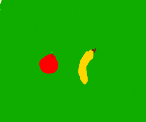Banana next to Apple in a Field