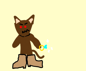 evil cat with big boots stealing ring