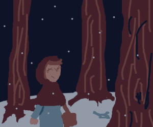 Little Red Riding Hood in a snowy forest