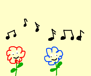 Red and blue flowers with faces listening to