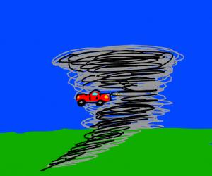 car gets sucked into a tornado
