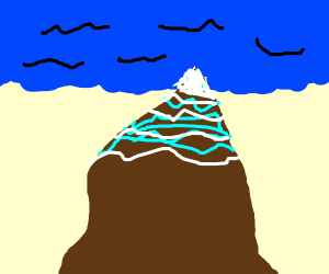 icy mountain, with an ocean foreground