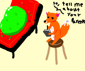 A fox talking to a green blob