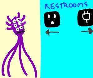 Alien in bathroom