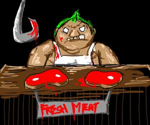 creepy salesman wants you to buy meat