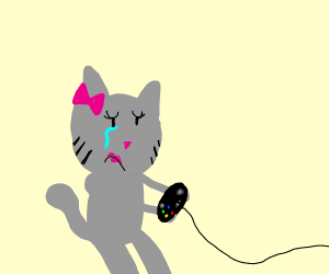 Sad cat girl plays video games