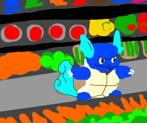 Wartortle (Pokemon) at a grocery store