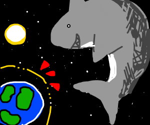 space shark can't break earth's forcefield