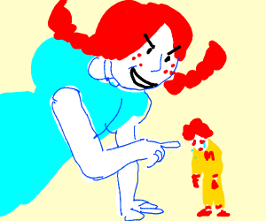 Wendy mocks a sad li'l Ronald McDonald