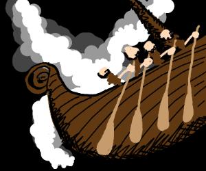 Viking ship sailing through the cosmos