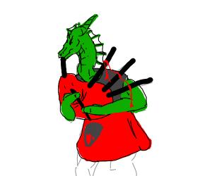 A kilt dragon sighing fire
