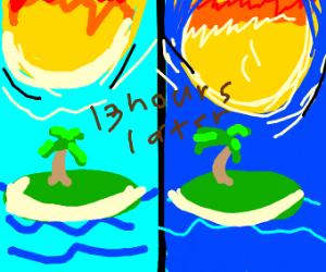 The sun slowly crashing into an island