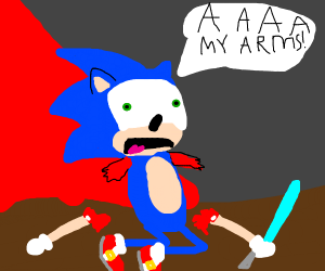 Sonic lost his arms in a lightsaberduel