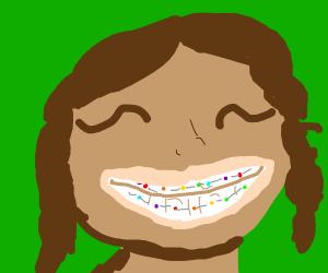 Girl with Rainbow Braces